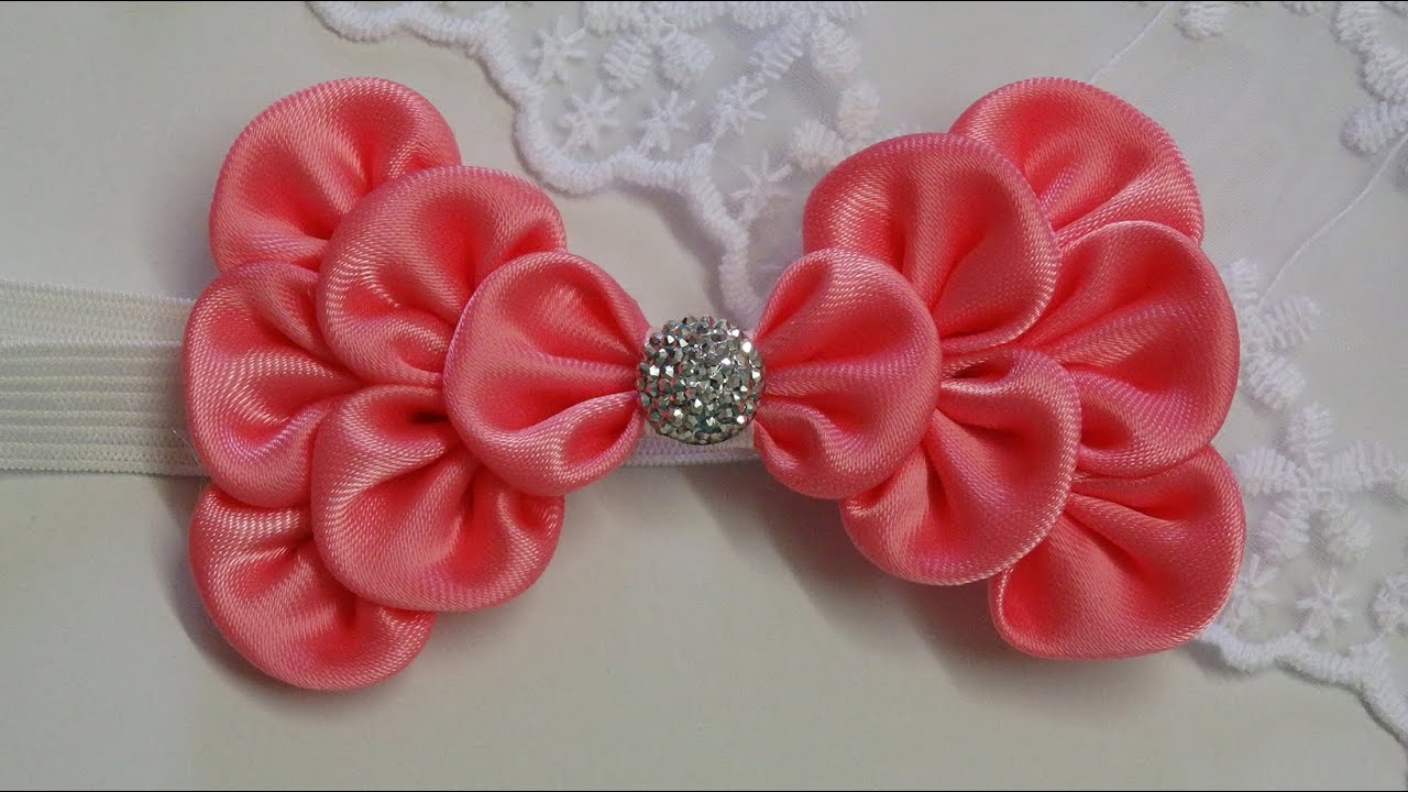 How to make kanzashi hair bow,Diy ribbon bow,baby headband ...