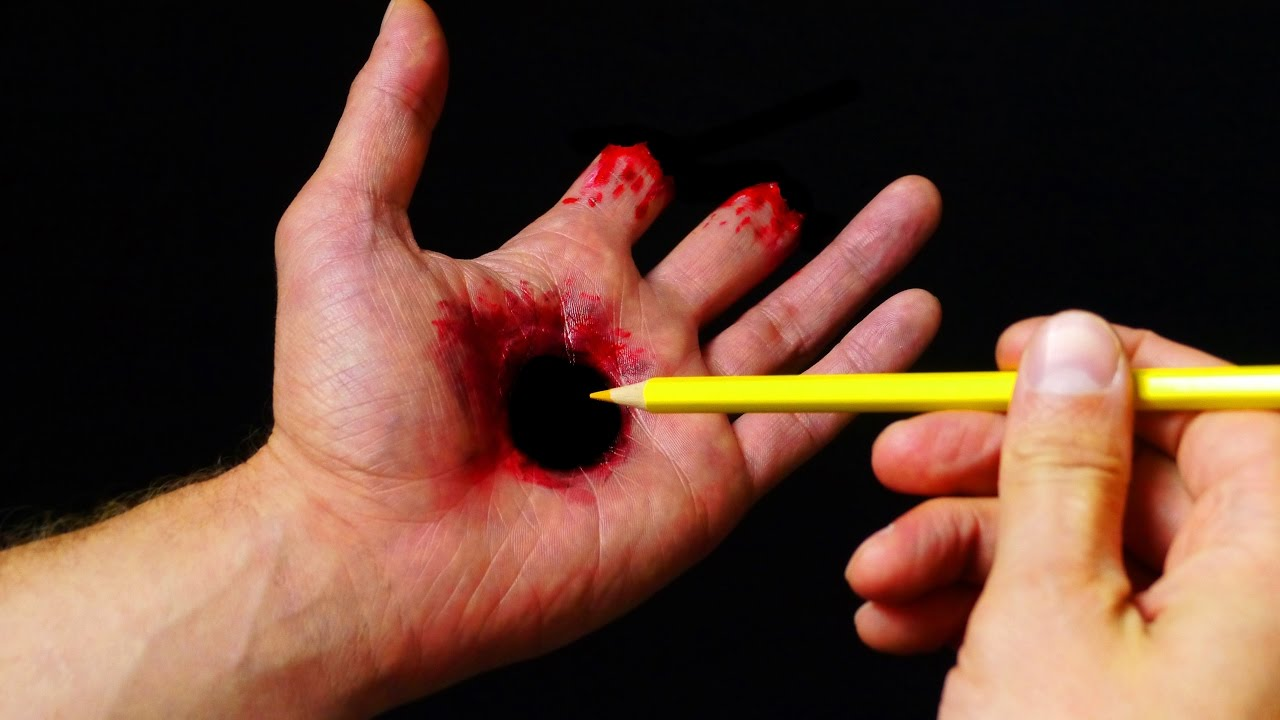 Halloween Makeup Tutorial - Hole in Hand illusion SFX - YouTube
