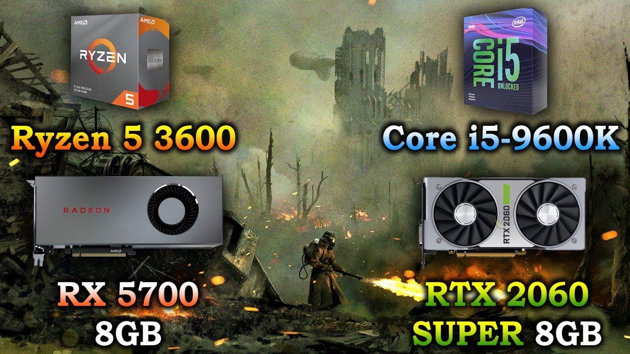Ryzen 5 3600 + RX 5700 vs Core i5 9600K + RTX 2060 SUPER | PC Gaming Benchmark Test