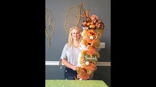 $1 Yardstick Door Swag Table Arrangement DIY