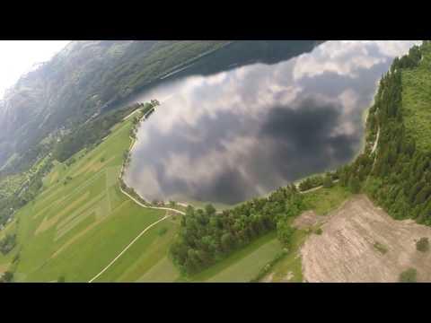 Paragliding over Lake Bohinj in Slovenia