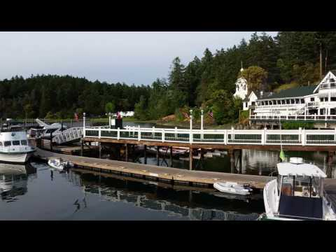 panoramic view of Roche Harbor including the pump out tub, a restaurant and its beauty