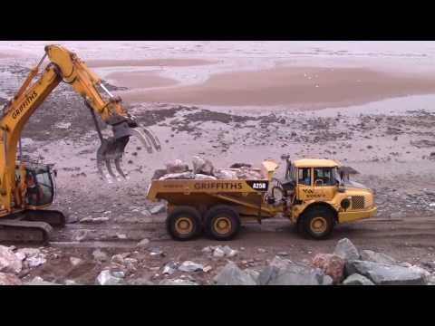 Old Colwyn Sea and flood defence construction 2014