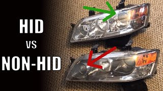 HID vs non-HID EVO Headlights - How to Tell