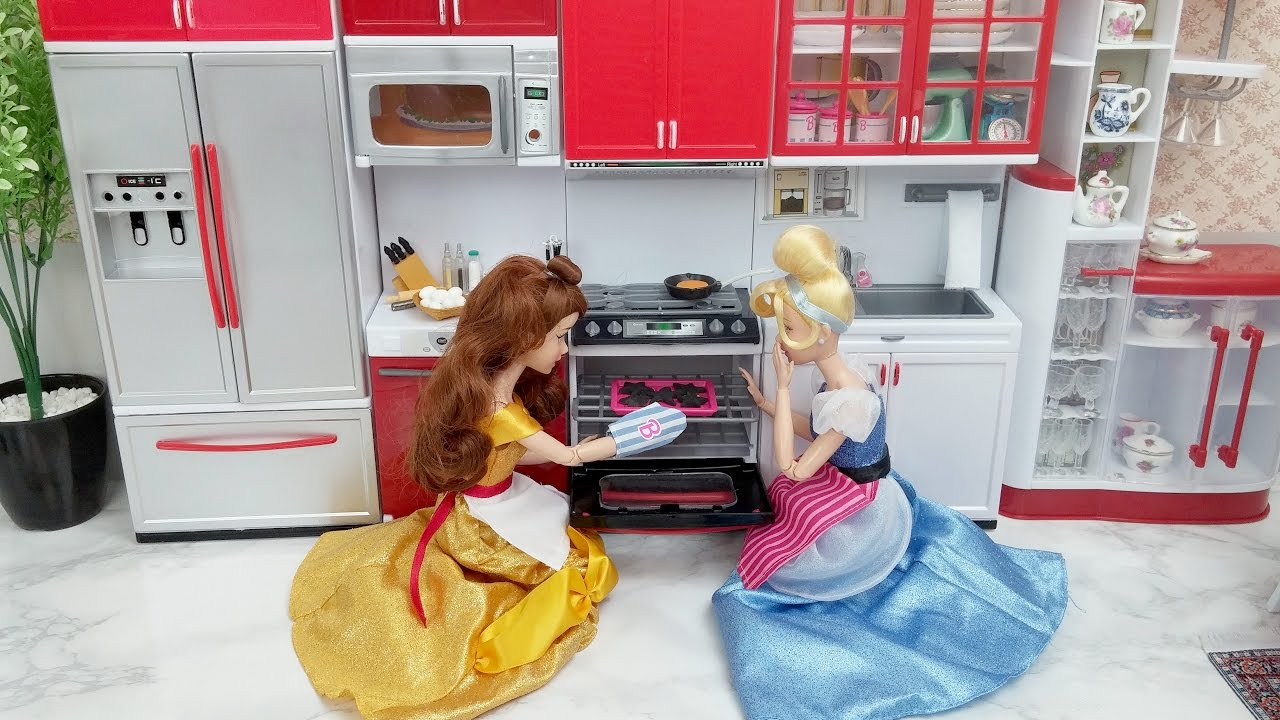 Disney Princess Elsa Kitchen Set Barbie Doll Kitchen Oven Fire