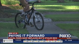 Local business gives kid new bike after his is stolen