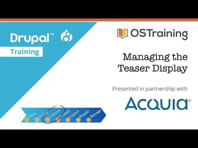 Drupal 8 Beginner, Lesson 36: Managing the Teaser Display