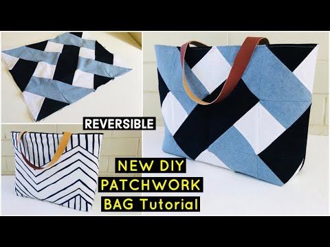 DIY BEAUTIFUL PATCHWORK JEANS TOTE BAG/EASY SEWING TUTORIAL/RECYCLE/BOLSA DIY/เย็บกระเป๋า #WITHME
