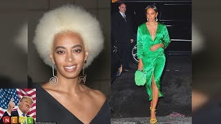 Solange Knowles sports contemporary ensemble at Stuart Weitzman event  The 31-year-old singer cel