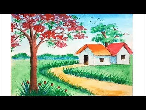 How to paint scenery of spring season for beginner step by step