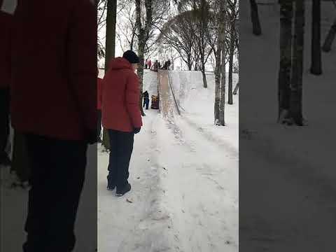 Еду с горки в парке ВРЗ город Вологда круто