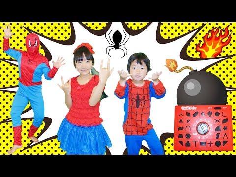 ★「時限爆弾を解除せよ~2!」スパイダーマンごっこ!★Spider-Man Time Bomb★
