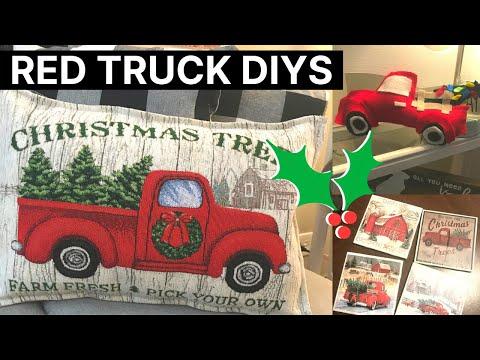 DIY RED TRUCK DECOR   EASY FARMHOUSE CHRISTMAS DECOR 2018