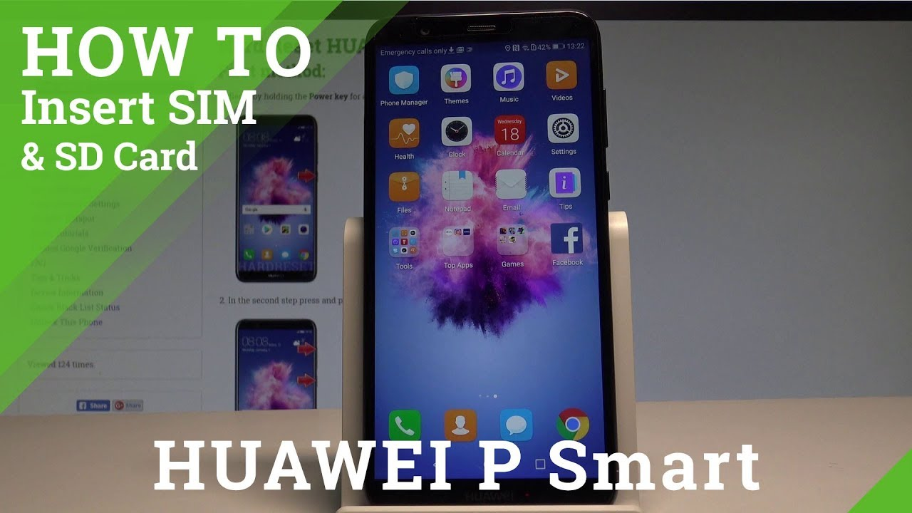 How to Insert SIM and SD in HUAWEI P Smart - SIM and SD Slot |HardReset Info