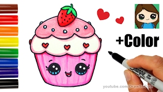 How to Draw + Color a Cupcake Easy - Valentine