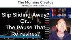 Bitcoin: Slip Sliding Away? Or The Pause That Refreshes? (MorningCryptos 026.01)