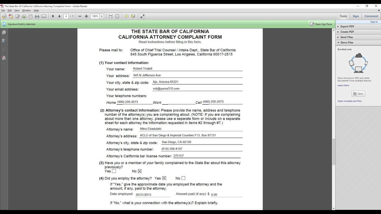 The State Bar of California, California Attorney Complaint Form ...
