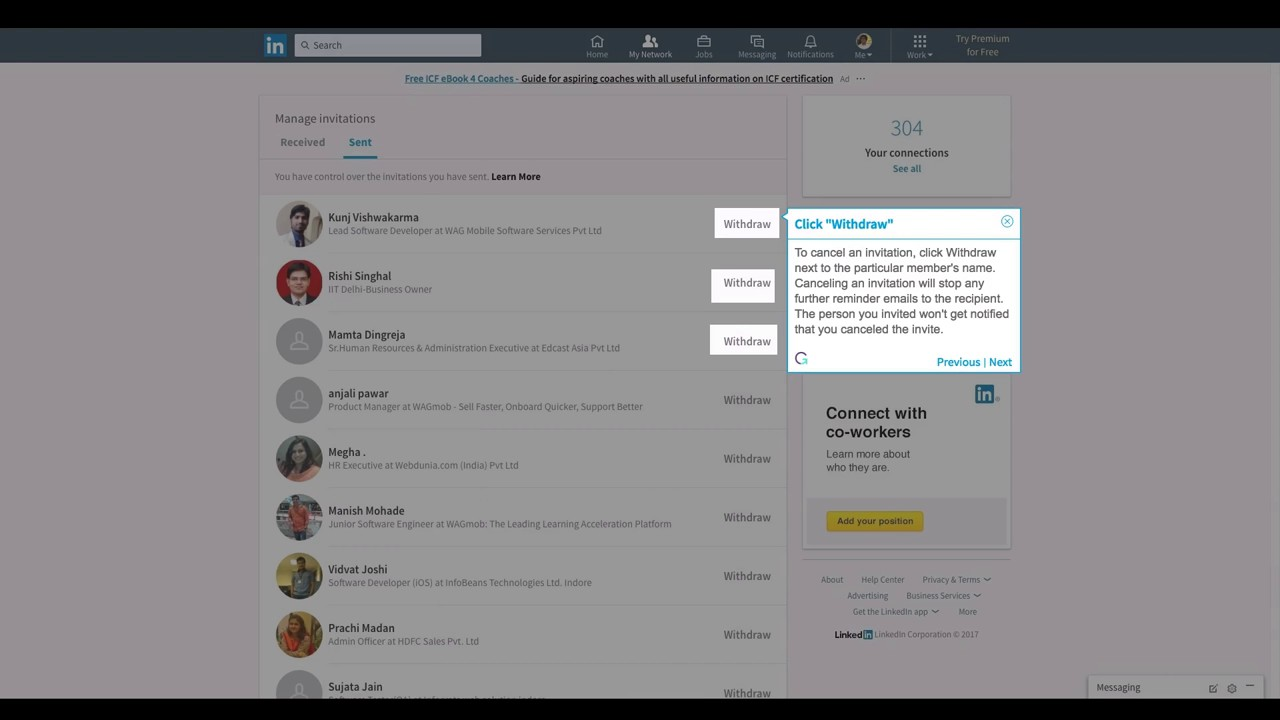 How to Cancel an Sent Invitation on LinkedIn - YouTube