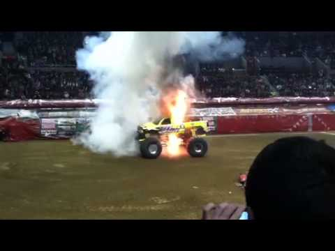 2012 Titan Monster Truck Up In Flames Youtube