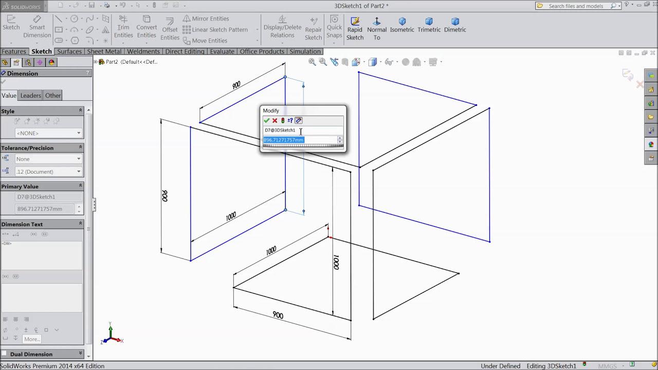 Solidworks 3d Sketch  Cad Cam Tutorial 06:54 HD