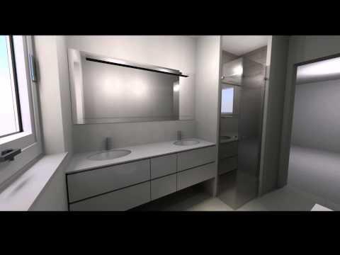 Bad indretning 3d   sandfarvede 60x60, på gulv   trælook mosaik på ...
