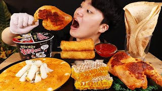 ENG SUB) ASMR MUKBANG FIRE CURRY Tteokbokki & FRIED CHICKEN & CHEESE STICK & HONEYCOMB EATING SOUND!