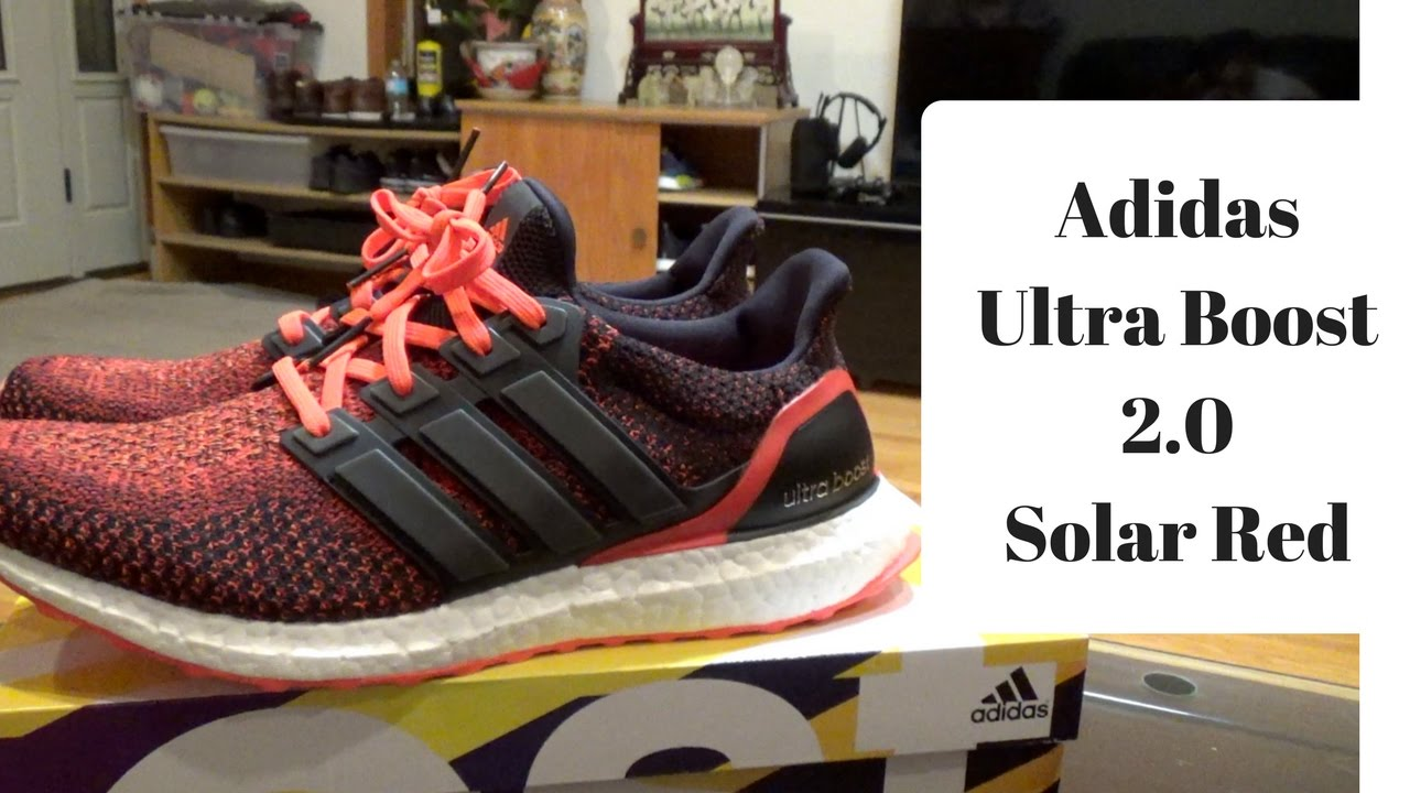 Adidas Ultra Boost 2.0 Solar Red Unboxing - YouTube 1cec9cdb5
