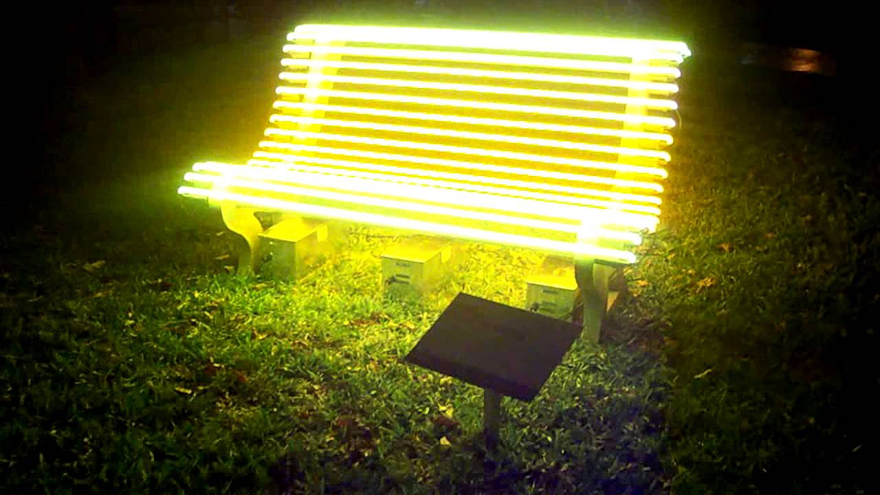 Installation Art Neon Park Benches At Art Public Art