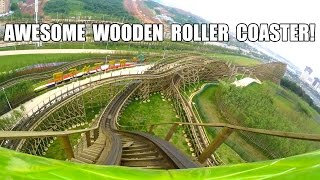 Python in Bamboo Forest (Viper) Wooden Roller Coaster POV! Nanchang Wanda Park China 竹林绿蟒