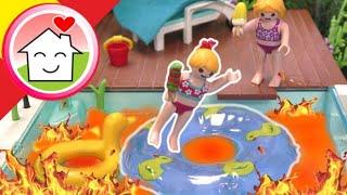 Playmobil en español La piscina es Lava - Familia Hauser