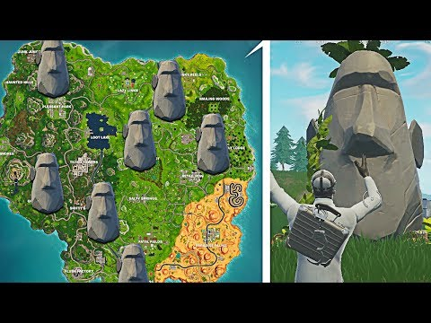 'Visit Different Stone Heads' All Stone Head Locations! Fortnite Stone Head Spawn Locations Week 9!