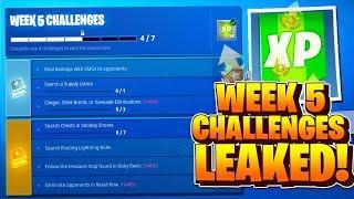 SEASON 5 WEEK 5 CHALLENGES LEAKED FORTNITE WEEK 5 ALL CHALLENGES EASY GUIDE WEEK 5 CHALLENGES!