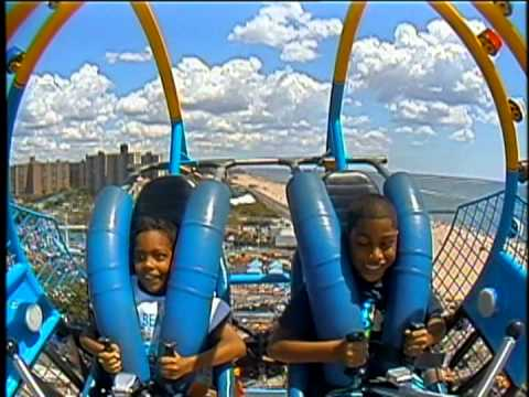 Two Little braves brothers. Sling Shot ride at Scream Zone, Coney Island