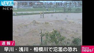 神奈川・早川で氾濫危険水位超える 台風で河川増水(19/10/12)