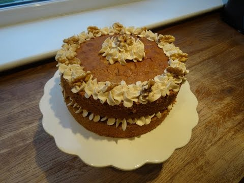 Coffee & Walnut Cake  (Mascarpone Cream Filling). . . How To