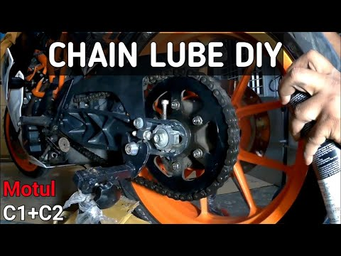 KTM RC 390 CHAIN LUBE DIY || HOW TO LUBE AND CLEAN MOTORCYCLE CHAIN || WITH MOTUL C1 C2