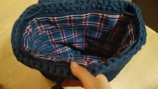 сумочка из трикотажной пряжи. Вышиваем  подклад. Смотрим как это легко делается