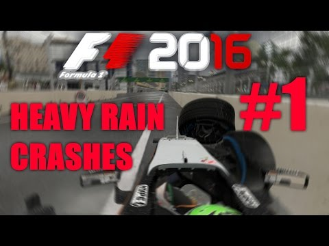 F1 2016 - HEAVY RAIN CRASH COMPILATION #1 |