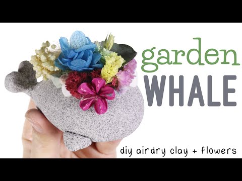How To DIY Terrarium Garden Whale Air Dry Clay/Dried Flowers Tutorial