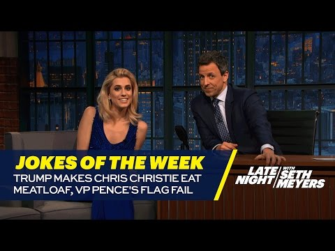 Seth's Favorite Jokes of the Week: Trump Makes Chris Christie Eat Meatloaf, VP Pence's Flag Fail