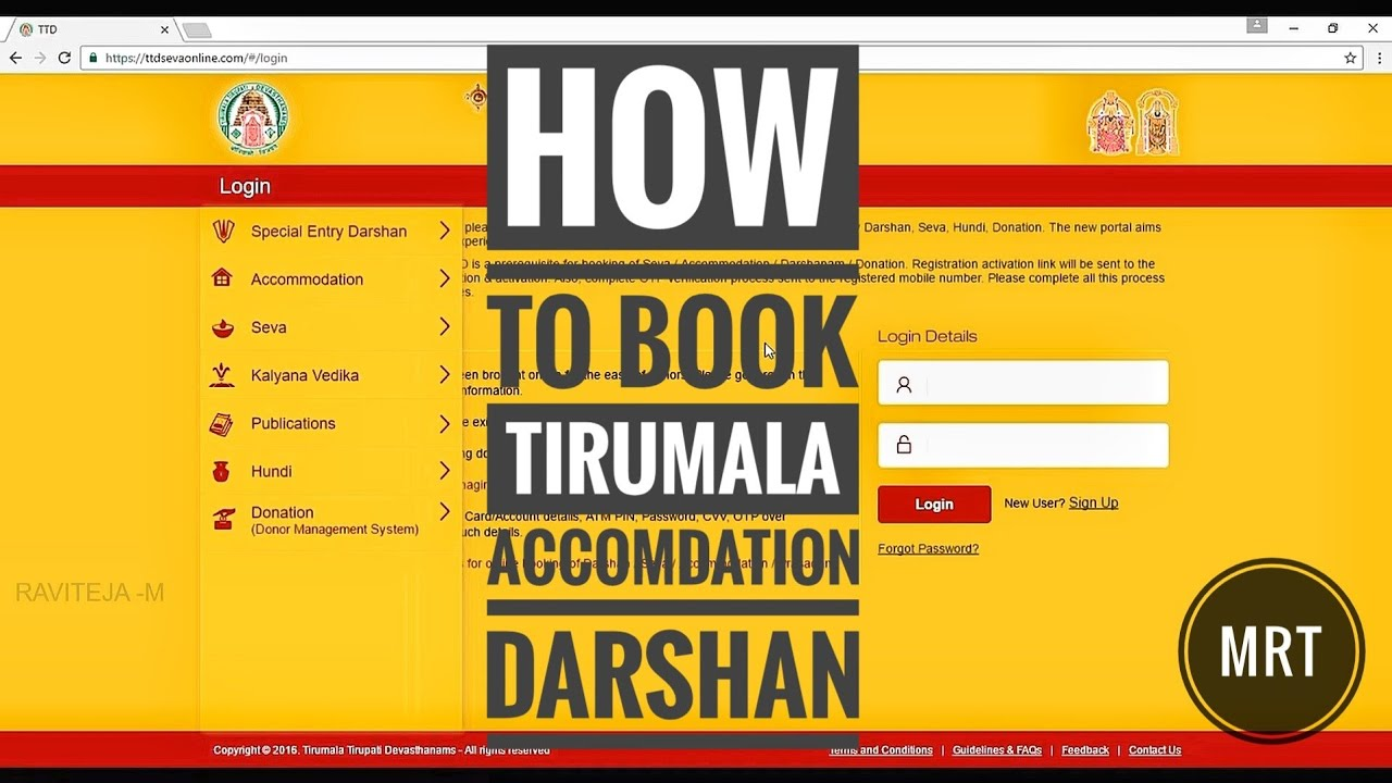 How to book online tickets for tirumala