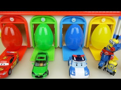 Surprise eggs and car toys, cars and minions play