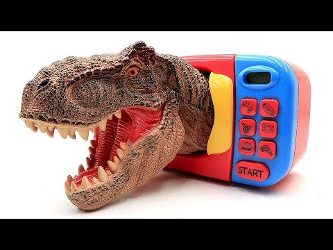 Jurassic World Dinosaur Toys! Amazing Microwave That Turns T Rex Into A Powerful T Rex~