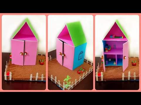 DIY miniature doll house | cardboard house| paper crafts| DIY projects | best out of waste |kids diy
