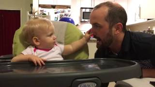 Baby reacts to clown horn sound effect