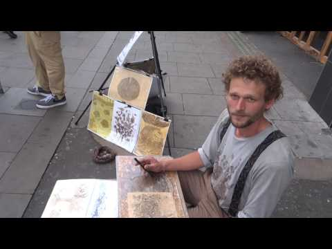 "An interview with skillful ""Coffee, Tea & Ink"" artist Martin Leipziger, Camden Market, London."