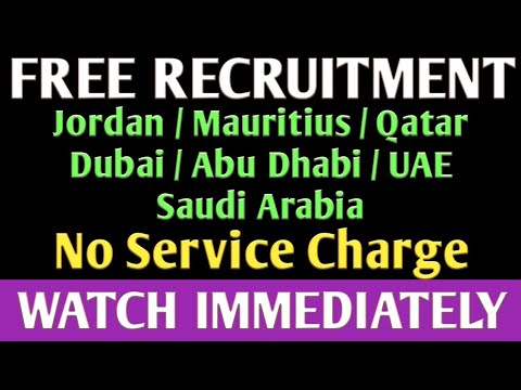 FREE RECRUITMENT JOBS IN GULF COUNTRIES. (07/08/2019)