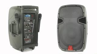 "Rockville RAM12BT 12"" Rechargable Powered 600W PA Speaker, 2 Mics, Bluetooth"
