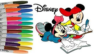 Mickey and Minnie Mouse Coloring Book Page Disney Colouring Back to School
