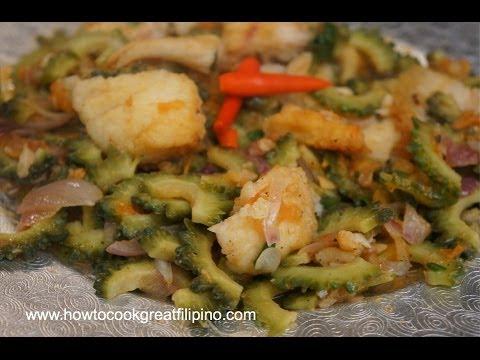 Paano magluto Ginisang Ampalaya at Isda - Fried Fish with Bitter melon Pinoy cooking Tagalog